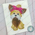 Headband Yorkie Applique Design ~ Satin Finish Dog Applique
